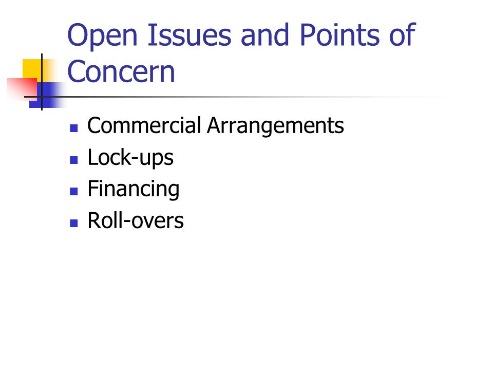 Open Issues and Points of Concern Commercial Arrangements Lock-ups Financing Roll-overs