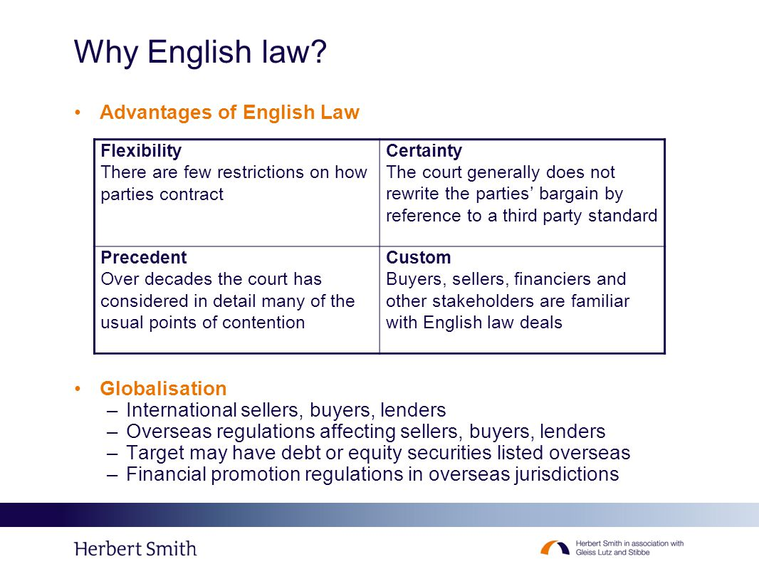 Why English law? Advantages of English Law Globalisation –International sellers, buyers, lenders –Overseas regulations affecting sellers, buyers, lend