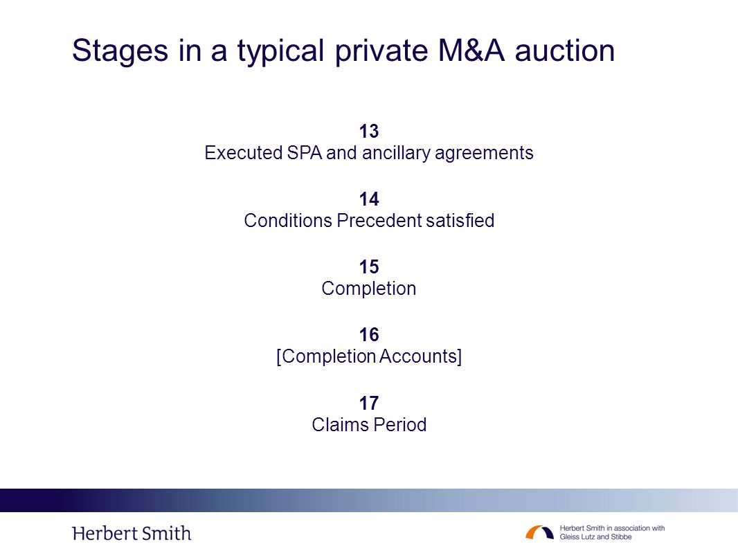 Stages in a typical private M&A auction 13 Executed SPA and ancillary agreements 14 Conditions Precedent satisfied 15 Completion 16 [Completion Accoun