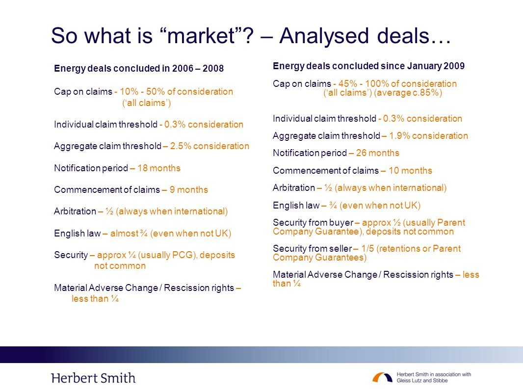 "So what is ""market""? – Analysed deals… Energy deals concluded since January 2009 Cap on claims - 45% - 100% of consideration ('all claims') (average c"
