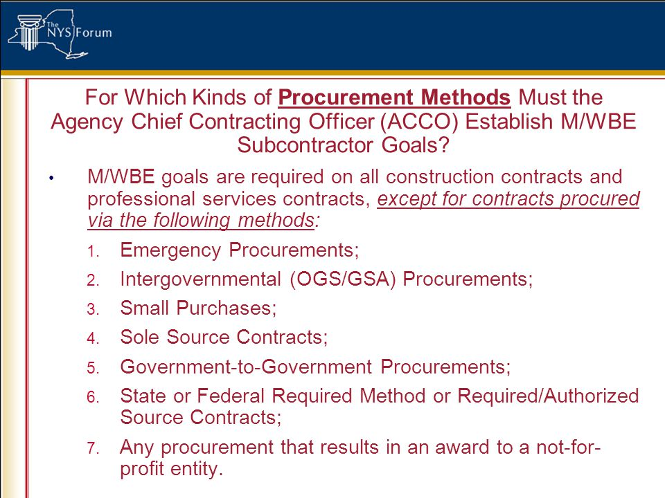 For Which Kinds of Procurement Methods Must the Agency Chief Contracting Officer (ACCO) Establish M/WBE Subcontractor Goals.