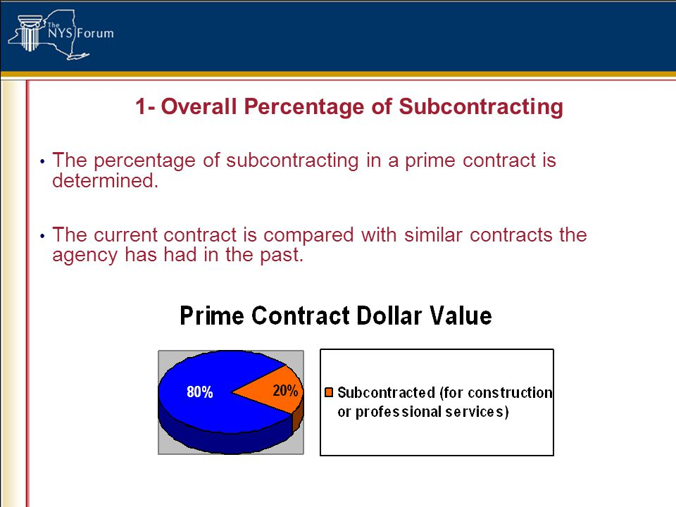 1- Overall Percentage of Subcontracting The percentage of subcontracting in a prime contract is determined.