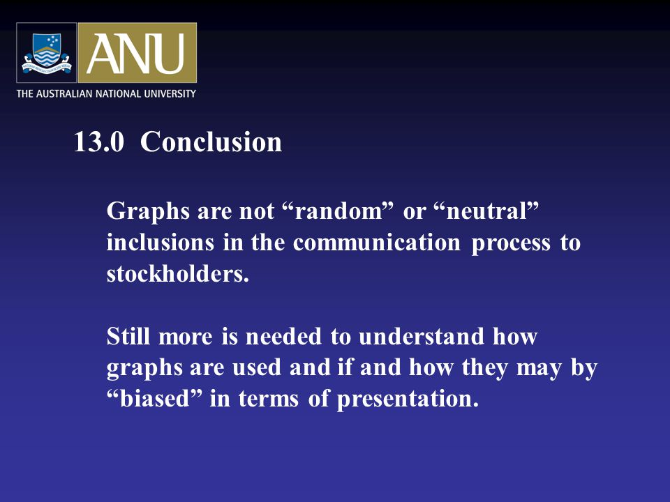 13.0 Conclusion Graphs are not random or neutral inclusions in the communication process to stockholders.