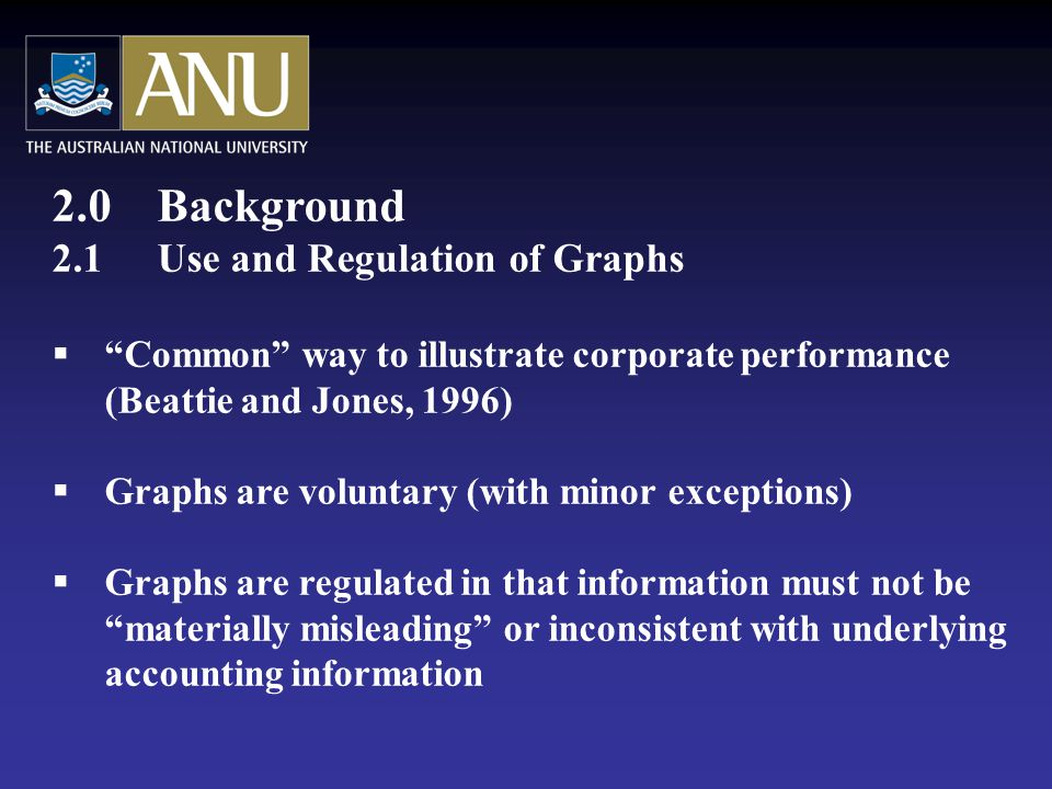 2.0 Background 2.1Use and Regulation of Graphs  Common way to illustrate corporate performance (Beattie and Jones, 1996)  Graphs are voluntary (with minor exceptions)  Graphs are regulated in that information must not be materially misleading or inconsistent with underlying accounting information