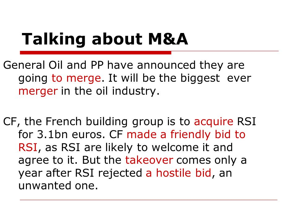 Talking about M&A General Oil and PP have announced they are going to merge.