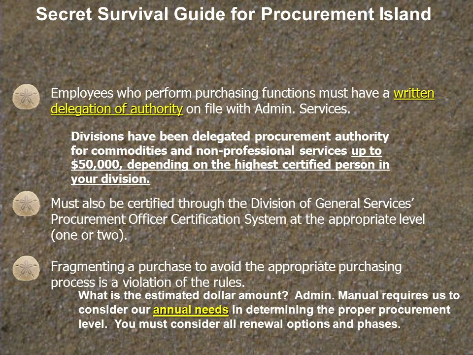 Secret Survival Guide for Procurement Island Administration has several IT procurement restrictions: Printers/multifunction devices (standard- Hewlett Packard) Peripheral devices-divisions may purchase according to standards.