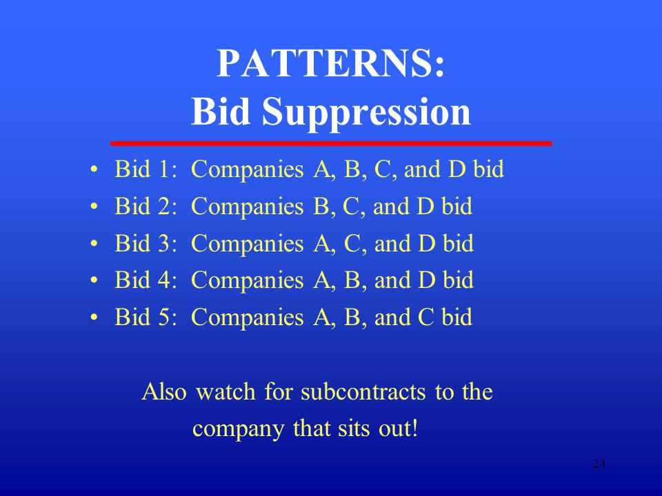 24 PATTERNS: Bid Suppression Bid 1: Companies A, B, C, and D bid Bid 2: Companies B, C, and D bid Bid 3: Companies A, C, and D bid Bid 4: Companies A, B, and D bid Bid 5: Companies A, B, and C bid Also watch for subcontracts to the company that sits out!