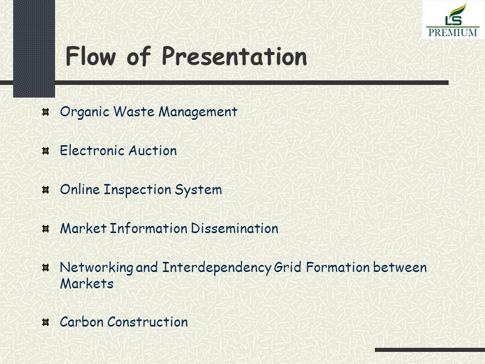 Flow of Presentation Organic Waste Management Electronic Auction Online Inspection System Market Information Dissemination Networking and Interdependency Grid Formation between Markets Carbon Construction