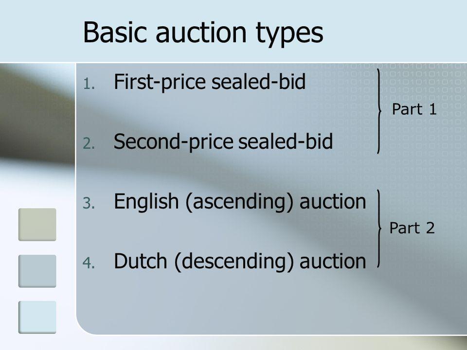 Basic auction types 1. First-price sealed-bid 2. Second-price sealed-bid 3. English (ascending) auction 4. Dutch (descending) auction Part 1 Part 2