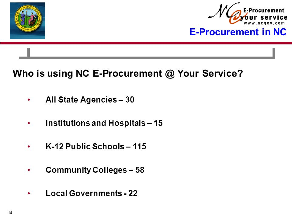 14 E-Procurement in NC Who is using NC E-Procurement @ Your Service.