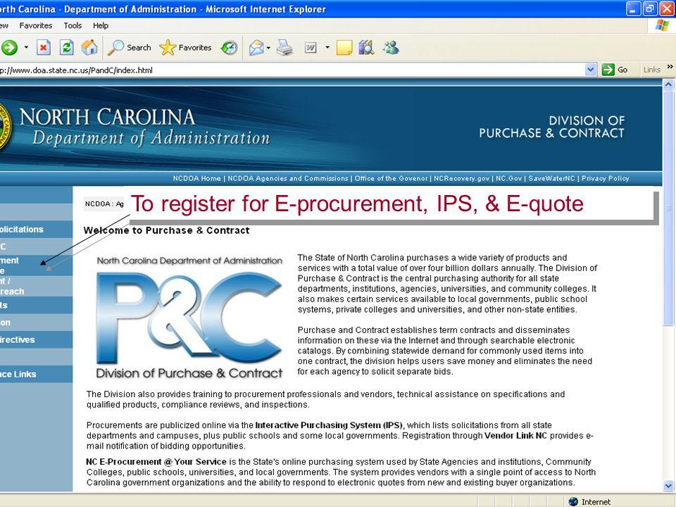 17 To register for E-procurement, IPS, & E-quote