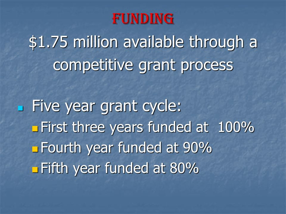 funding $1.75 million available through a competitive grant process Five year grant cycle: Five year grant cycle: First three years funded at 100% First three years funded at 100% Fourth year funded at 90% Fourth year funded at 90% Fifth year funded at 80% Fifth year funded at 80%