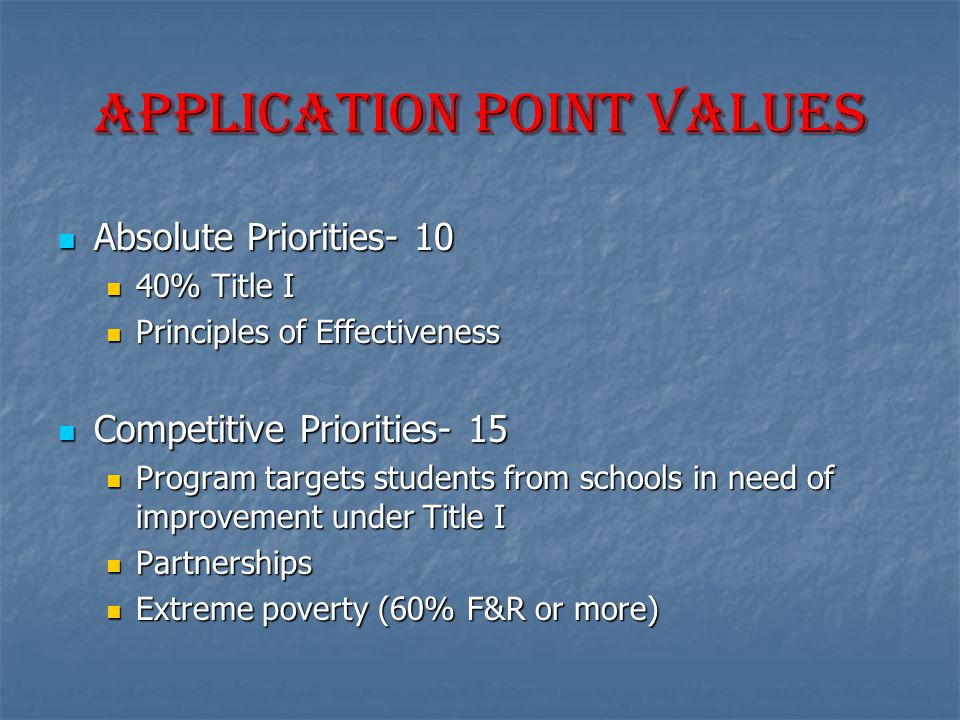 Application point values Absolute Priorities- 10 Absolute Priorities- 10 40% Title I 40% Title I Principles of Effectiveness Principles of Effectiveness Competitive Priorities- 15 Competitive Priorities- 15 Program targets students from schools in need of improvement under Title I Program targets students from schools in need of improvement under Title I Partnerships Partnerships Extreme poverty (60% F&R or more) Extreme poverty (60% F&R or more)