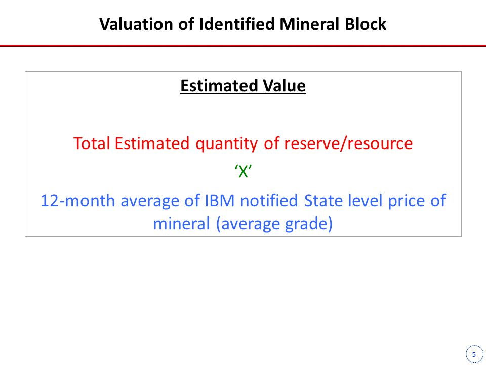 5 Valuation of Identified Mineral Block Estimated Value Total Estimated quantity of reserve/resource 'X' 12-month average of IBM notified State level