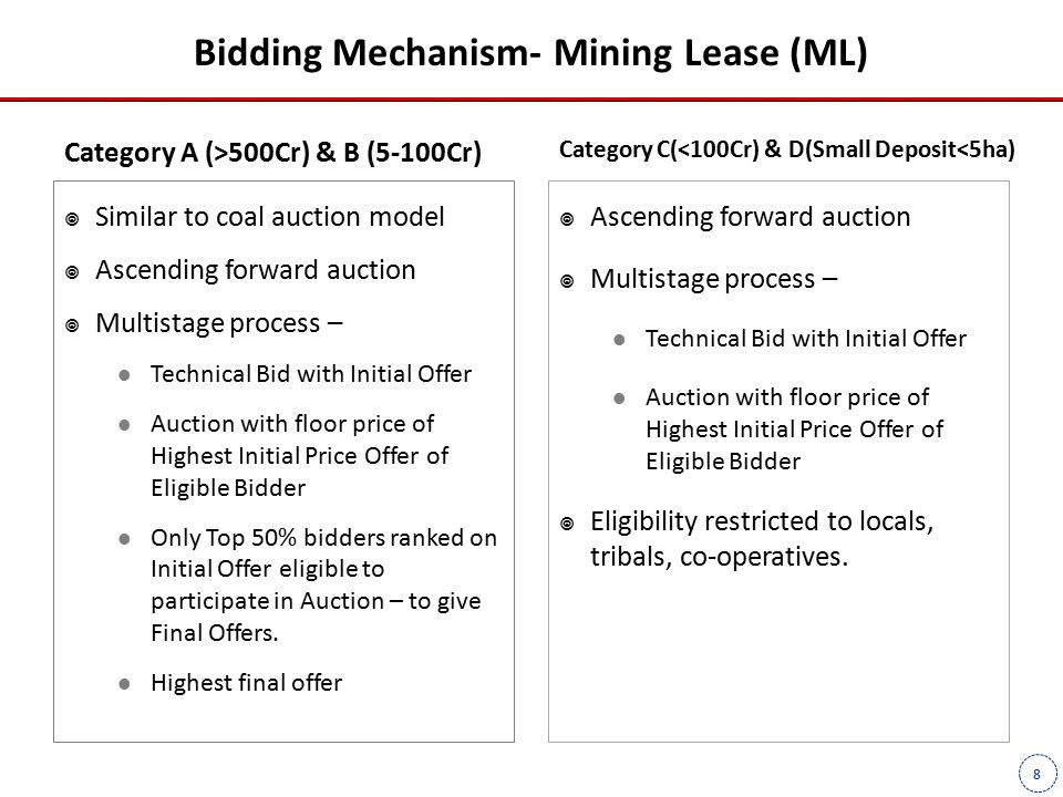 8 Bidding Mechanism- Mining Lease (ML) Category A (>500Cr) & B (5-100Cr)  Similar to coal auction model  Ascending forward auction  Multistage proc