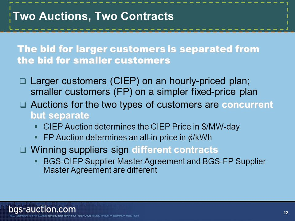 12 Two Auctions, Two Contracts  Larger customers (CIEP) on an hourly-priced plan; smaller customers (FP) on a simpler fixed-price plan concurrent but