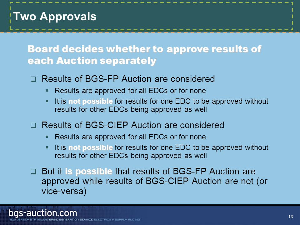 13 Two Approvals  Results of BGS-FP Auction are considered  Results are approved for all EDCs or for none not possible  It is not possible for resu