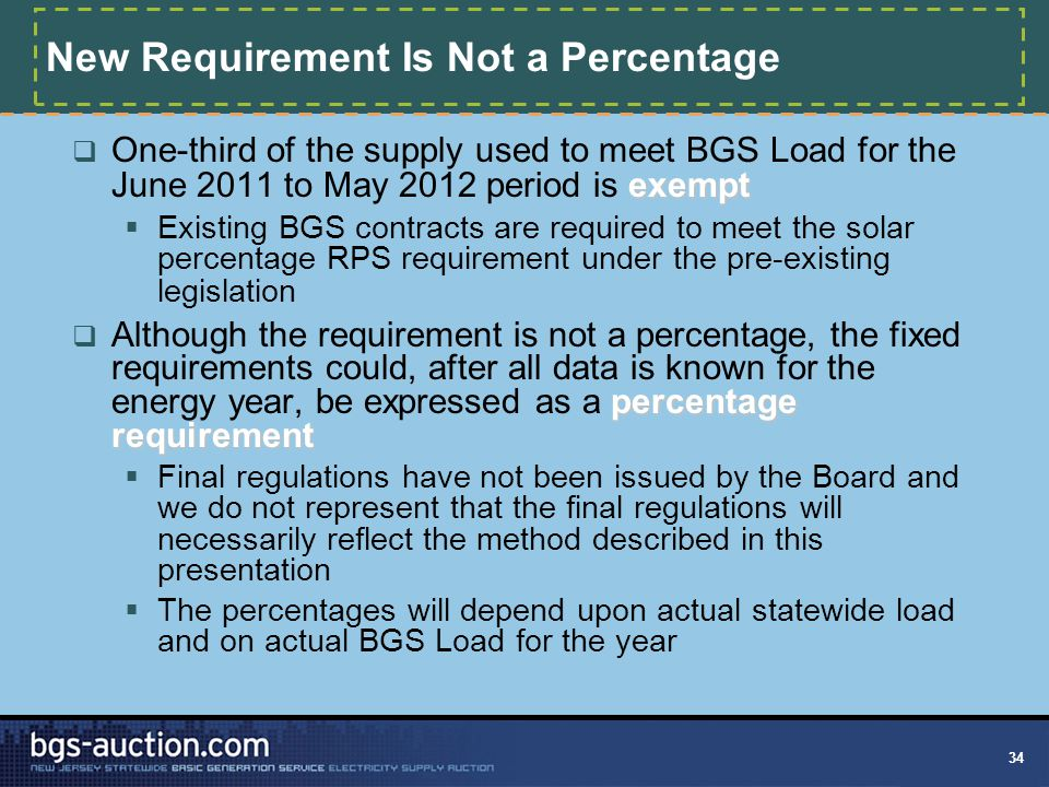 34 New Requirement Is Not a Percentage exempt  One-third of the supply used to meet BGS Load for the June 2011 to May 2012 period is exempt  Existin
