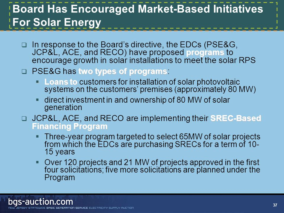 37 Board Has Encouraged Market-Based Initiatives For Solar Energy programs  In response to the Board's directive, the EDCs (PSE&G, JCP&L, ACE, and RE