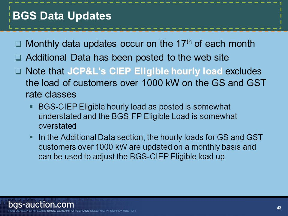 42 BGS Data Updates  Monthly data updates occur on the 17 th of each month  Additional Data has been posted to the web site JCP&L s CIEP Eligible hourly load  Note that JCP&L s CIEP Eligible hourly load excludes the load of customers over 1000 kW on the GS and GST rate classes  BGS-CIEP Eligible hourly load as posted is somewhat understated and the BGS-FP Eligible Load is somewhat overstated  In the Additional Data section, the hourly loads for GS and GST customers over 1000 kW are updated on a monthly basis and can be used to adjust the BGS-CIEP Eligible load up
