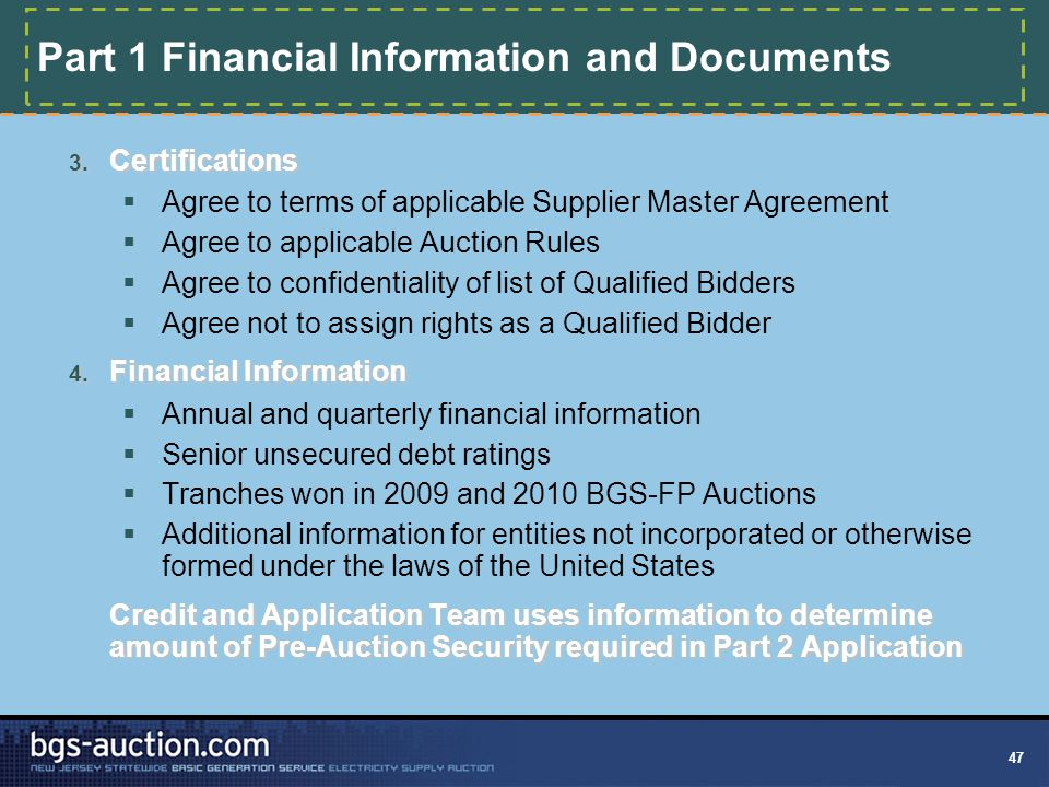 47 Part 1 Financial Information and Documents 3.