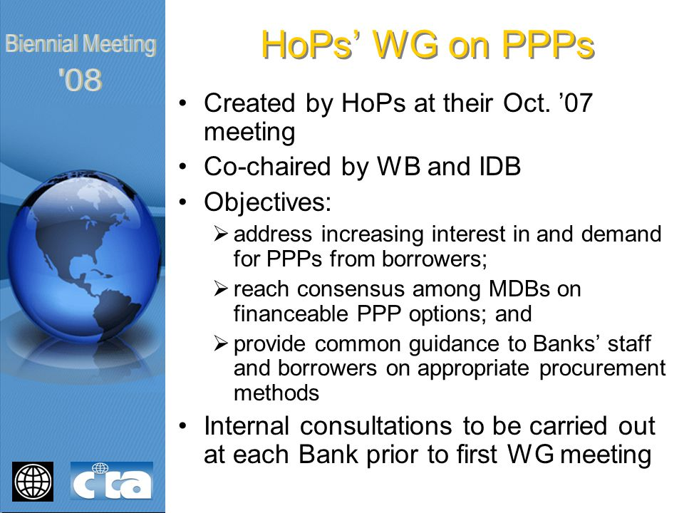 HoPs' WG on PPPs Created by HoPs at their Oct.