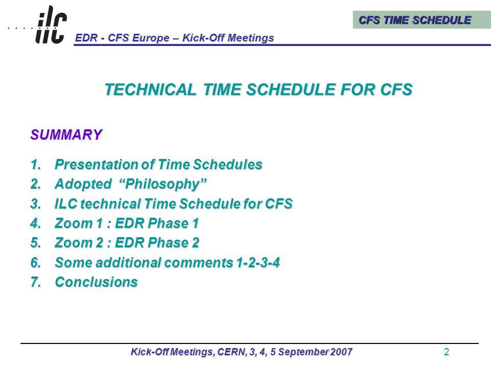 CFS TIME SCHEDULE EDR - CFS Europe – Kick-Off Meetings Kick-Off Meetings, CERN, 3, 4, 5 September 20073 1.
