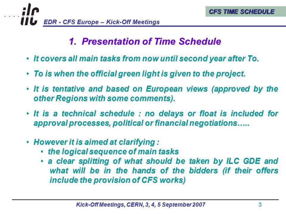 CFS TIME SCHEDULE EDR - CFS Europe – Kick-Off Meetings Kick-Off Meetings, CERN, 3, 4, 5 September 20074 2.