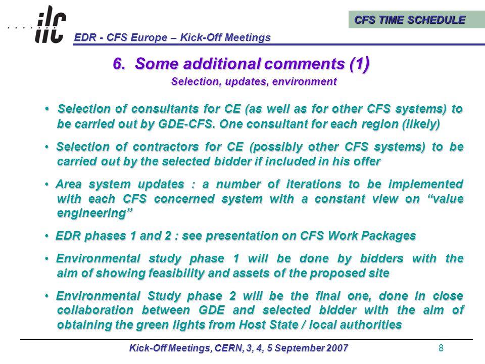 CFS TIME SCHEDULE EDR - CFS Europe – Kick-Off Meetings Kick-Off Meetings, CERN, 3, 4, 5 September 20079 6.