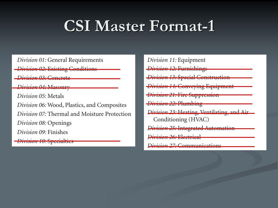 CSI Master Format-1