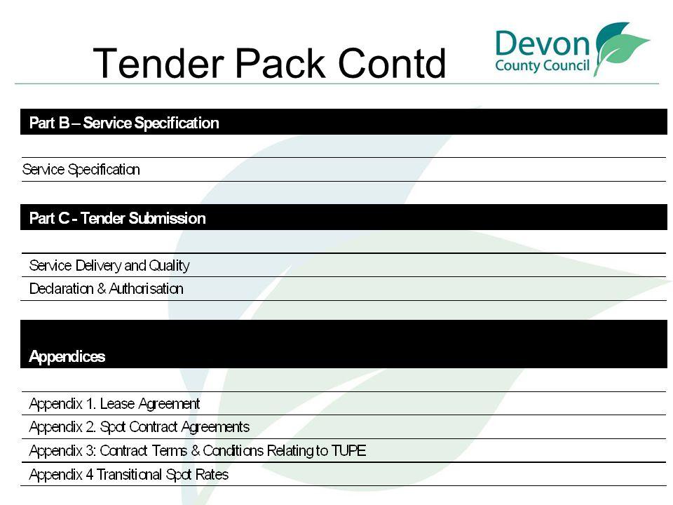 List of Tender Documents Tender Pack General Information Home Specific information Site Visits