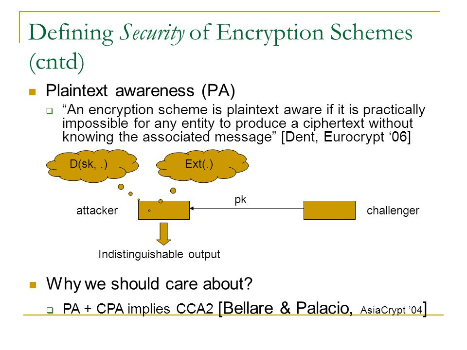 Defining Security of Encryption Schemes (cntd) Plaintext awareness (PA)  An encryption scheme is plaintext aware if it is practically impossible for any entity to produce a ciphertext without knowing the associated message [Dent, Eurocrypt '06] challenger Why we should care about.