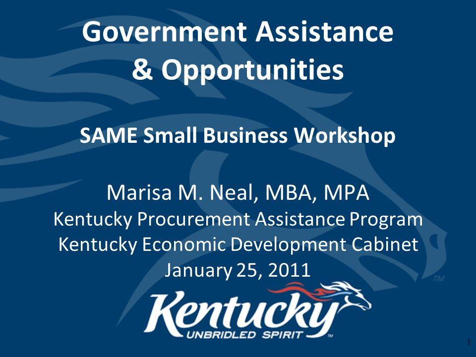 1 Government Assistance & Opportunities SAME Small Business Workshop Marisa M.