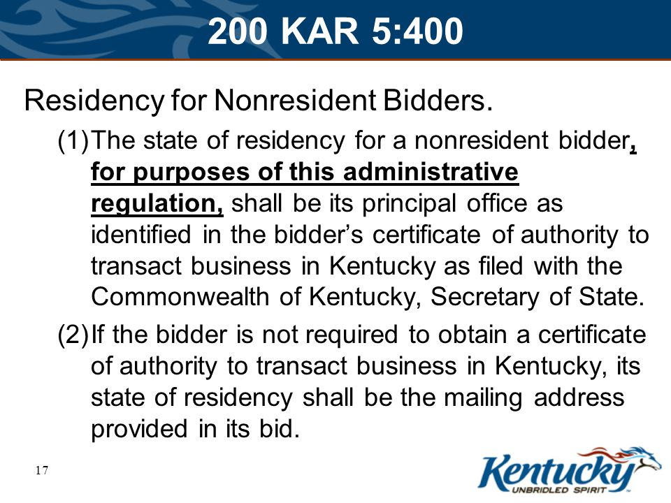 17 200 KAR 5:400 Residency for Nonresident Bidders.
