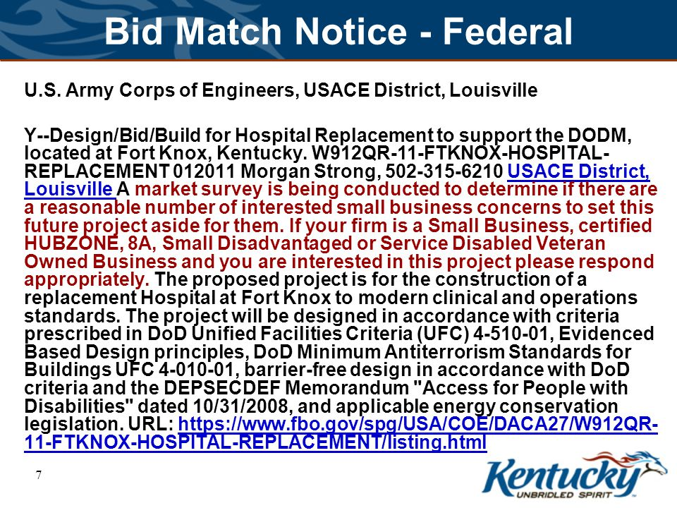 8 Bid Match Notice - State Kentucky Transportation Cabinet C - TRANSPORTATION ENGINEERING SERVICES.
