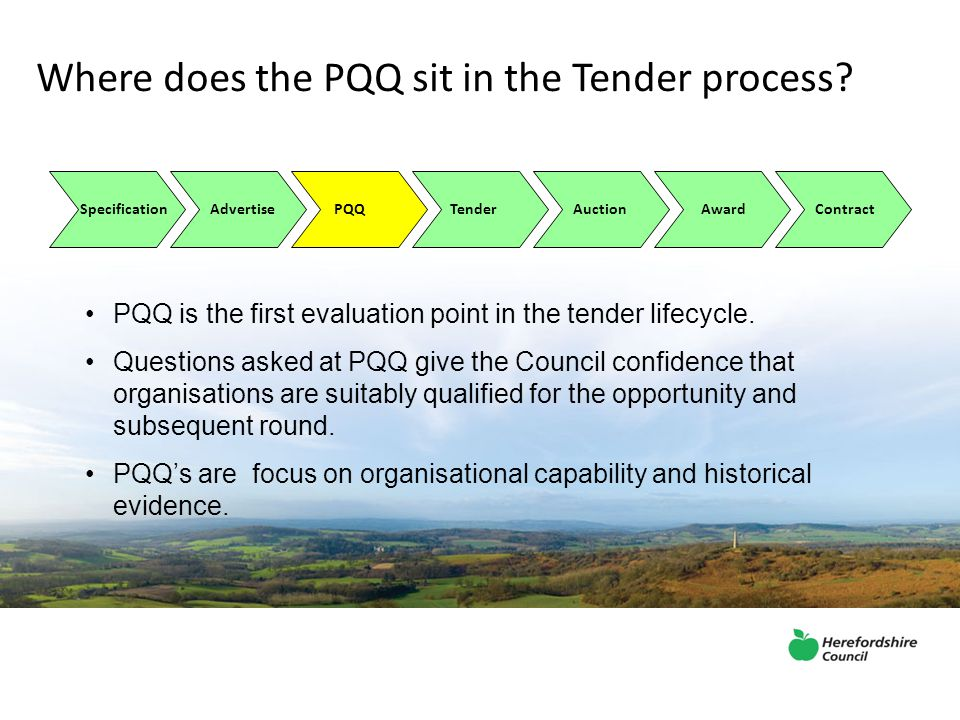 Where does the PQQ sit in the Tender process.