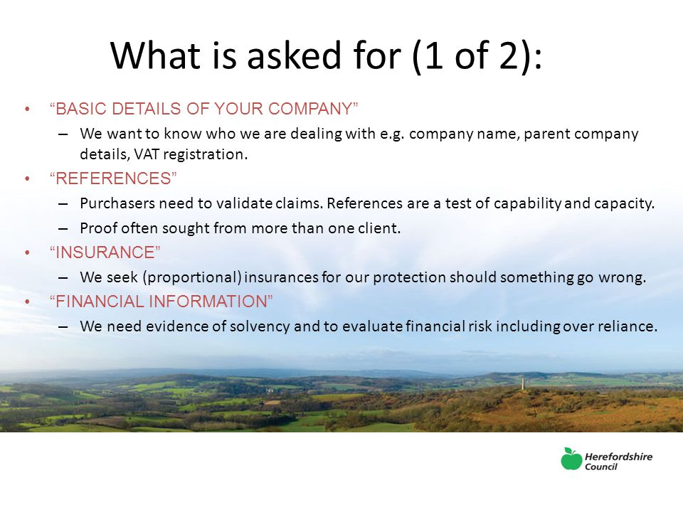 What is asked for (1 of 2): BASIC DETAILS OF YOUR COMPANY – We want to know who we are dealing with e.g.