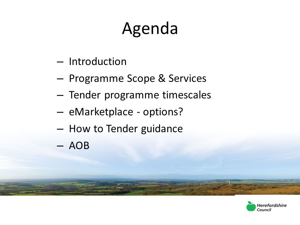 Agenda – Introduction – Programme Scope & Services – Tender programme timescales – eMarketplace - options.