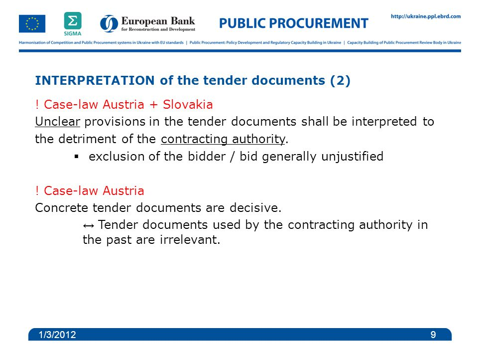 INTERPRETATION of the tender documents (2) .