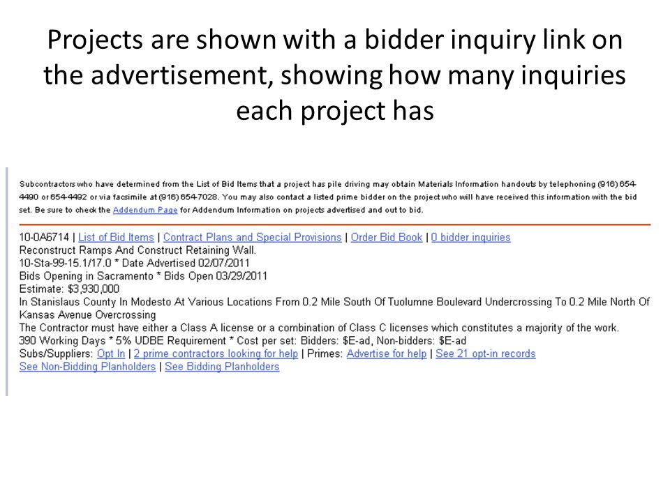 Projects are shown with a bidder inquiry link on the advertisement, showing how many inquiries each project has