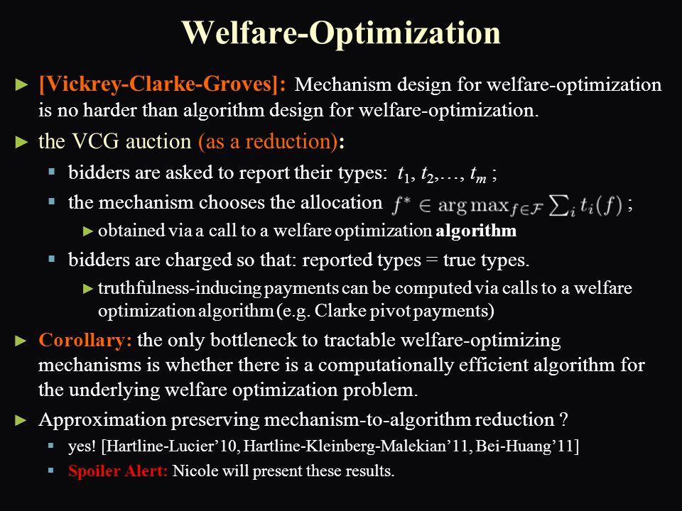 Welfare-Optimization ► ► [Vickrey-Clarke-Groves]: Mechanism design for welfare-optimization is no harder than algorithm design for welfare-optimizatio