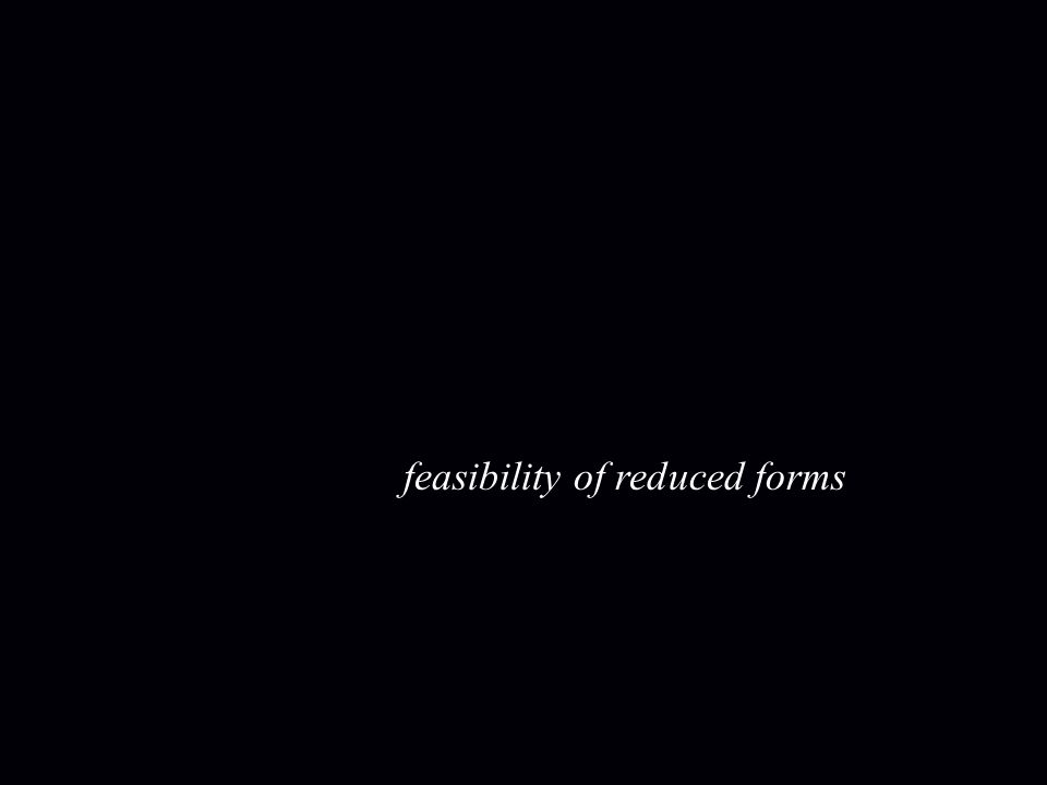 feasibility of reduced forms