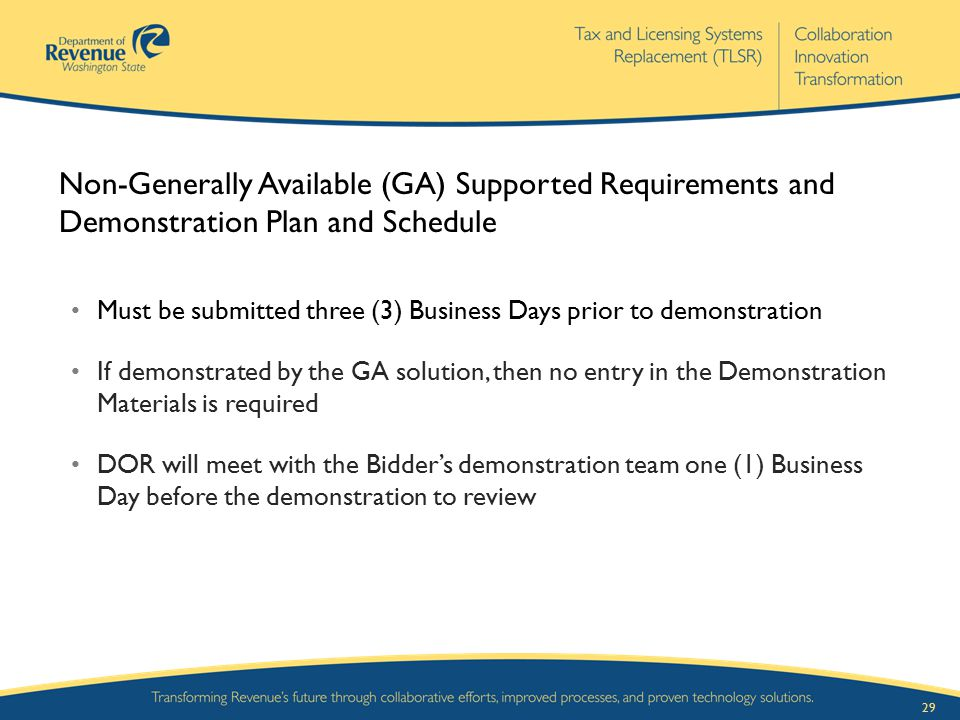 29 Non-Generally Available (GA) Supported Requirements and Demonstration Plan and Schedule Must be submitted three (3) Business Days prior to demonstr