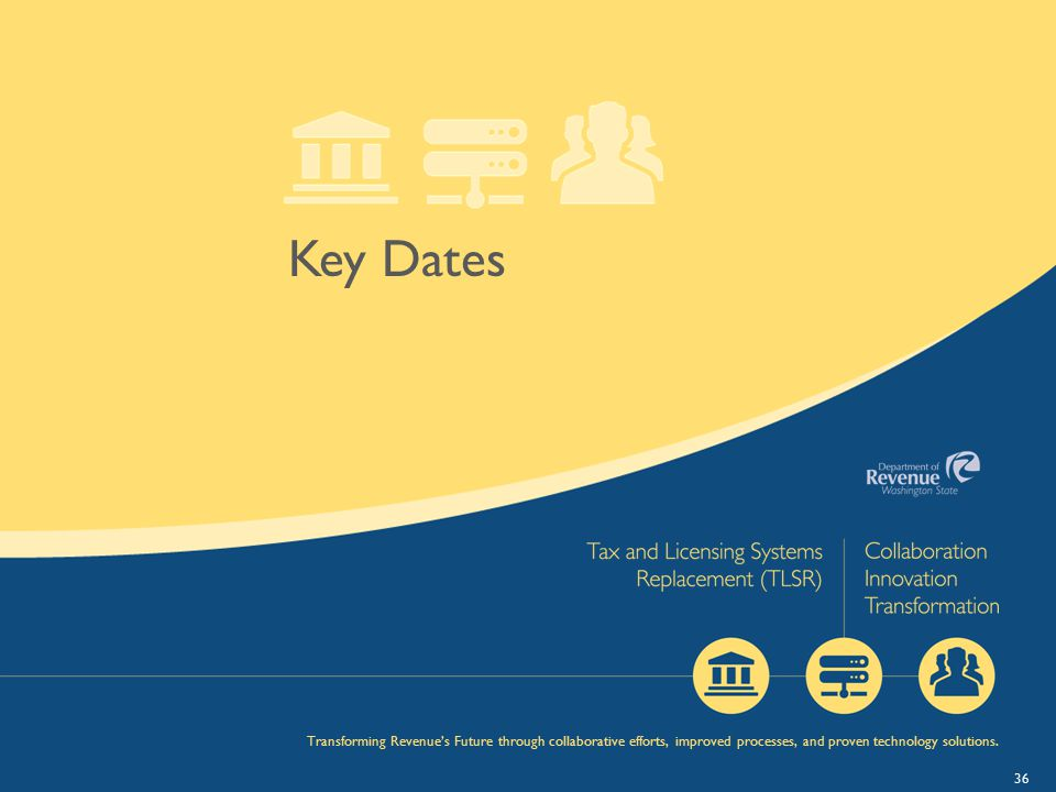 36 Key Dates Transforming Revenue's Future through collaborative efforts, improved processes, and proven technology solutions.