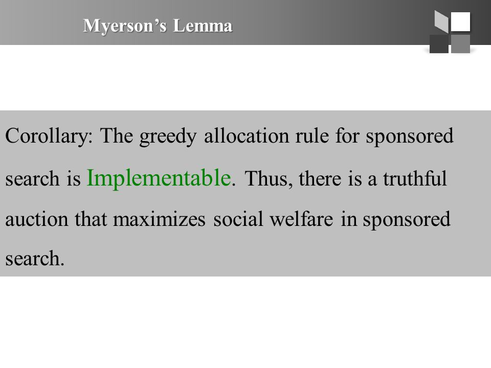Myerson's Lemma Corollary: The greedy allocation rule for sponsored search is Implementable. Thus, there is a truthful auction that maximizes social w