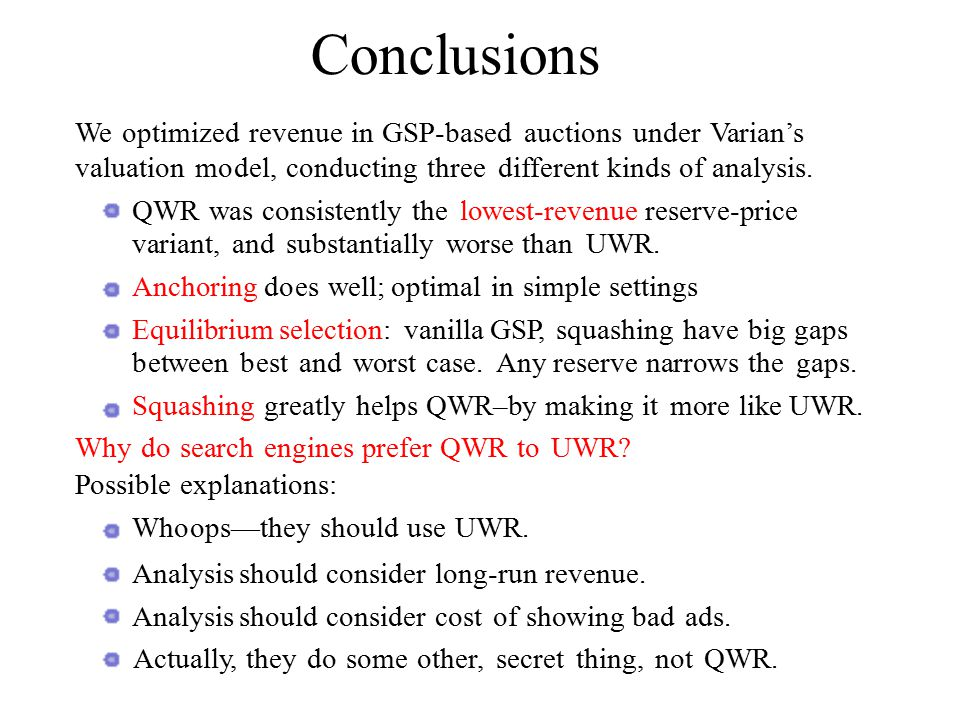 We optimized revenue in GSP-based auctions under Varian's valuation model, conducting three different kinds of analysis.