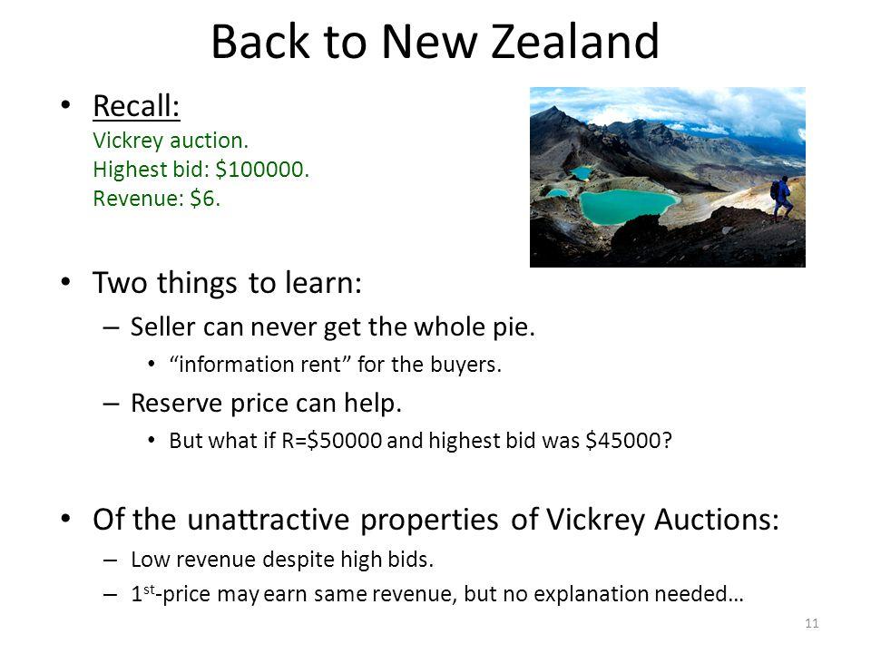 Back to New Zealand Recall: Vickrey auction. Highest bid: $100000.