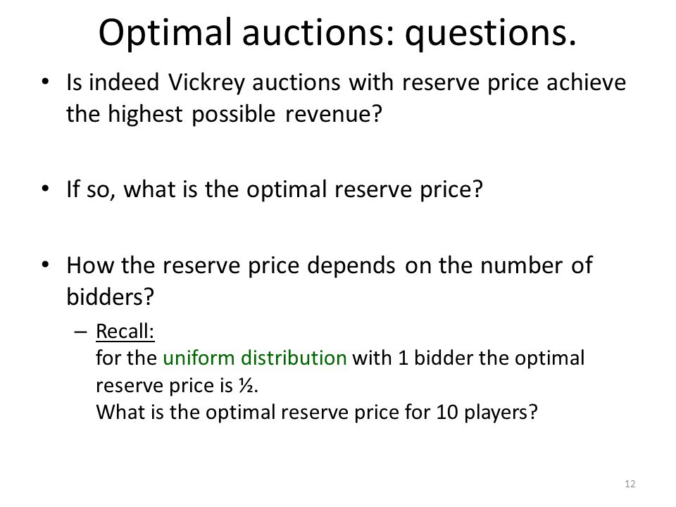 Optimal auctions: questions.