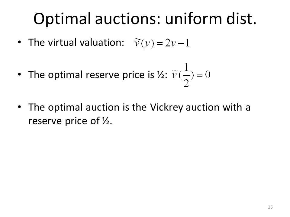 Optimal auctions: uniform dist.