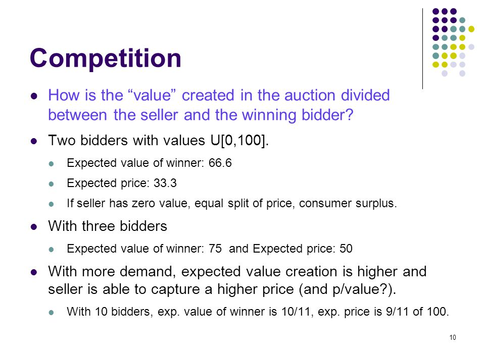 "Competition How is the ""value"" created in the auction divided between the seller and the winning bidder? Two bidders with values U[0,100]. Expected va"